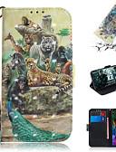 זול מגנים לטלפון-מגן עבור LG LG V40 / LG G8 ארנק / מחזיק כרטיסים / עם מעמד כיסוי מלא חיה / דמות מצוירת בתלת מימד עור PU