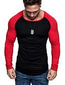 baratos Relógios Digitais-Homens Camiseta Básico Pregueado / Patchwork, Sólido Decote Redondo Delgado Vermelho / Manga Longa