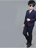 お買い得  男児 ウェアセット-子供 男の子 ベーシック ソリッド 長袖 レギュラー レギュラー コットン アンサンブル ブルー