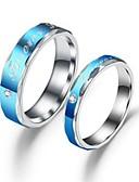 baratos Relógios de Casal-Casal Anéis de Casal Anel 1pç Azul Aço Inoxidável Aço Titânio Circular Básico Fashion Presente Diário Jóias Letra Legal