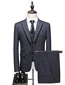 זול טוקסידו-אפור מְשׁוּבָּץ גזרה רגילה פוליאסטר חליפה - פתוח Single Breasted Two-button