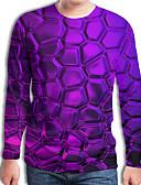 billige T-skjorter og singleter til herrer-T-skjorte Herre - Geometrisk / 3D, Flettet / Trykt mønster Gatemote / overdrevet Lilla