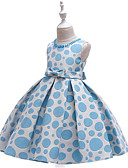billige Blomsterpikekjoler-Prinsesse Gulvlang Blomsterpikekjole - Polyester / bomullsblanding Ermeløs Besmykket med Perledetaljer