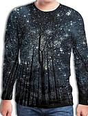 baratos Moda Íntima Exótica para Homens-Homens Camiseta Moda de Rua / Exagerado Pregueado / Estampado, Geométrica / 3D Preto