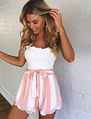 ราคาถูก กางเกงผู้หญิง-สำหรับผู้หญิง Sporty / Street Chic กางเกงขาสั้น กางเกง - ลายแถบ สีน้ำเงิน &สีขาว / Black & White, หลายเลเยอร์ ใบไม้สีเขียวที่มีสามแฉก สีดำ สีแดงชมพู L XL XXL