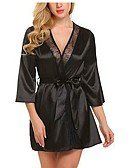 ราคาถูก เสื้อคลุมและชุดนอน-สำหรับผู้หญิง ลูกไม้ Sexy เสื้อคลุม / ซาตินและผ้าไหม เสื้อนอน สีพื้น สีดำ ขาว สีน้ำเงิน S M L / คอวีลึก