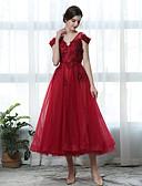 זול שמלות לילדות פרחים-גזרת A צווארון V באורך הקרסול תחרה / טול מסיבת קוקטייל שמלה עם נצנצים / אפליקציות על ידי LAN TING Express