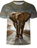 baratos Moda Íntima Exótica para Homens-Homens Tamanho Europeu / Americano Camiseta Estampado, Estampa Colorida / 3D / Animal Decote Redondo Cinzento / Manga Curta