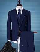 billige Herreblazere og dresser-Herre Store størrelser drakter, Ensfarget Skjortekrage Polyester Svart / Mørkegrå / Navyblå / Tynn