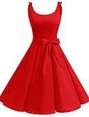 Χαμηλού Κόστους Βίντατζ Βασίλισσα-Γυναικεία Βίντατζ Βασικό Little Black Swing Φόρεμα - Μονόχρωμο, Φιόγκος Κορδόνι Μίντι