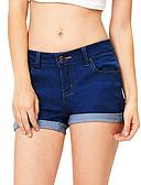 ราคาถูก กางเกงผู้หญิง-สำหรับผู้หญิง พื้นฐาน กางเกงขาสั้น กางเกง - สีพื้น คลาสสิค สีน้ำเงิน สีน้ำเงินกรมท่า XL XXL XXXL