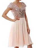 זול שמלות מודפסות-צווארון V עד הברך פאייטים שיפון, אחיד - שמלה נדן מידות גדולות אלגנטית בגדי ריקוד נשים