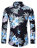 baratos Camisas-Homens Camisa Social Básico Floral Azul Marinha