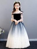 Χαμηλού Κόστους Λουλουδάτα φορέματα για κορίτσια-Πριγκίπισσα Μακρύ Φόρεμα για Κοριτσάκι Λουλουδιών - Πολυεστέρας / Τούλι 3/4 Μήκος Μανικιού Ώμοι Έξω με Παγιέτες