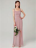 Χαμηλού Κόστους Φορέματα Χορού Αποφοίτησης-Ίσια Γραμμή Λεπτές Τιράντες Μακρύ Δίχτυ Φόρεμα Παρανύμφων με Με Άνοιγμα Μπροστά / Πλισέ