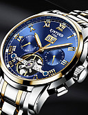 ราคาถูก นาฬิกาสวมใส่เข้าชุด-KINYUED สำหรับผู้ชาย นาฬิกาเห็นกลไกจักรกล วิศวกรรมนาฬิกา Swiss ไขลานอัตโนมัติ ดำ / เงิน 30 m กันน้ำ ปฏิทิน วันที่ ความหรูหรา คลาสสิก ไม่เป็นทางการ แฟชั่น - สีดำ สีทอง / สีขาว สีทอง / สแตนเลส