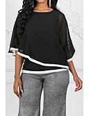 ราคาถูก เสื้อเอวลอยสำหรับผู้หญิง-สำหรับผู้หญิง เสื้อสตรี พื้นฐาน ลายต่อ ลายบล็อคสี สีดำ