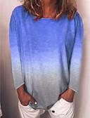 ราคาถูก เสื้อยืดสำหรับสุภาพสตรี-สำหรับผู้หญิง เสื้อเชิร์ต ลายบล็อคสี สีฟ้า