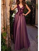 Χαμηλού Κόστους Φορέματα Ξεχωριστών Γεγονότων-Γραμμή Α Βυθίζοντας το λαιμό Μακρύ Δαντέλα / Τούλι Κομψό Επίσημο Βραδινό Φόρεμα 2020 με Εισαγωγή δαντέλας