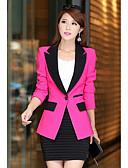 ราคาถูก เสื้อคลุมผู้หญิง-สำหรับผู้หญิง เสื้อคลุมสุภาพ, สีพื้น คอเสื้อเชิ้ต เส้นใยสังเคราะห์ ส้ม / สีเทา / สีบานเย็น