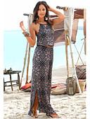 baratos Vestidos Longos-Mulheres Boho Abaya Vestido - Cordões Com Cordão, Floral Longo