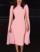 olcso Női ruhák-Női Utcai sikk Bodycon Ruha - Kollázs, Egyszínű Midi