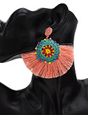זול שעונים-בגדי ריקוד נשים עגילי טיפה עגיל עגילי רפיה קלוע Flower Shape עגילים תכשיטים כחול / ורוד / ירוק כהה עבור קרנבל פֶסטִיבָל 1pc