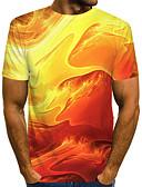 Χαμηλού Κόστους Ανδρικά μπλουζάκια και φανελάκια-Ανδρικά Μέγεθος EU / US T-shirt Κλαμπ Κομψό στυλ street / Εξωγκωμένος Συνδυασμός Χρωμάτων / 3D / Δετοβαμένο Στρογγυλή Λαιμόκοψη Στάμπα Κίτρινο / Κοντομάνικο