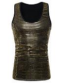ราคาถูก เสื้อยืดและเสื้อกล้ามผู้ชาย-สำหรับผู้ชาย เสื้อกล้าม พื้นฐาน คลับ - ฝ้าย ลายเลื่อม คอกลม เพรียวบาง สีพื้น สีทอง / เสื้อไม่มีแขน