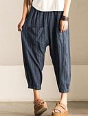 billige Jumpsuits og sparkebukser til damer-Dame Gatemote Store størrelser Harem Bukser - Stripet Svart og Grå, Lapper Bomull Grå XXXL XXXXL XXXXXL