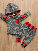 billige Baby Gutter topper-Baby Gutt Fritid / Aktiv Ensfarget / Trykt mønster Trykt mønster Langermet Normal Tøysett Mørkegrå