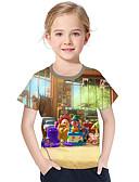 זול שמלות לבנות-טישירט שרוולים קצרים דפוס גיאומטרי / דפוס פעיל / בסיסי בנות ילדים / פעוטות
