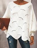 billige Todelt dress til damer-Dame Ensfarget Langermet Kjegle Erme Pullover Genserjumper, Dyp utringing Vår / Høst Svart / Hvit / Rosa S / M / L