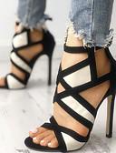 זול גרביים וגרביונים-בגדי ריקוד נשים עקבים עקב סטילטו בוהן עגולה אבזם סוויד קיץ בז' / פוקסיה