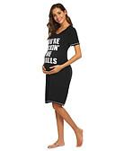 billige Kjoler-Dame Grunnleggende Elegant T skjorte Kjole - Bokstaver, Lapper Trykt mønster Knelang