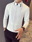 povoljno Muške košulje-Majica Muškarci - Osnovni Ležerno / za svaki dan Prugasti uzorak / Jednobojni Print Crn