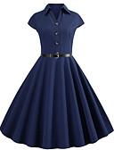 baratos Vestidos Vintage-Mulheres Moda de Rua Elegante balanço Vestido - Cordões, Sólido Altura dos Joelhos