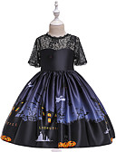 baratos Vestidos para Meninas-Infantil Bébé Para Meninas Vintage Básico Retalhos Renda Estampado Manga Curta Acima do Joelho Vestido Preto