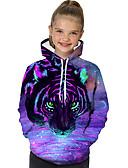 Χαμηλού Κόστους Γυναικείες Μπλούζες με Κουκούλα & Φούτερ-Παιδιά Νήπιο Κοριτσίστικα Ενεργό Βασικό Τίγρης Γεωμετρικό Στάμπα Συνδυασμός Χρωμάτων Στάμπα Μακρυμάνικο Μπλούζα με Κουκούλα & Φούτερ Βυσσινί / Ζώο