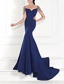 Χαμηλού Κόστους Βραδινά Φορέματα-Τρομπέτα / Γοργόνα Καρδιά Ουρά Σαρμέζ Ανοικτή Πλάτη Επίσημο Βραδινό Φόρεμα 2020 με Χάντρες / Κρυστάλλινη λεπτομέρεια