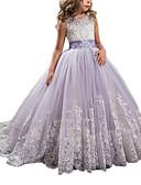 Χαμηλού Κόστους Λουλουδάτα φορέματα για κορίτσια-Πριγκίπισσα Ουρά Φόρεμα για Κοριτσάκι Λουλουδιών - Τούλι / Mikado Αμάνικο Με Κόσμημα με Διακοσμητικά Επιράμματα / Φιόγκος(οι) / Κρύσταλλοι / Στρας