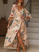 Χαμηλού Κόστους Φορέματα-Γυναικεία Μεγάλα Μεγέθη Κομψό στυλ street Skater Φόρεμα - Φλοράλ, Στάμπα Μακρύ Λαιμόκοψη V