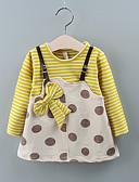 baratos Vestidos para Bebês-bebê Para Meninas Básico Poá / Listrado Estampado Manga Longa Altura dos Joelhos Vestido Vinho