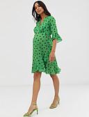 Χαμηλού Κόστους Φορέματα-Γυναικεία Κομψό στυλ street Εκλεπτυσμένο Θήκη Swing Φόρεμα - Πουά, Με Βολάν Στάμπα Wrap Πάνω από το Γόνατο