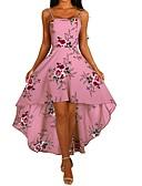 baratos Mini Vestidos-Mulheres Evasê Vestido - Floral Com tiras, Flor Com Alças Assimétrico