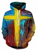 olcso Férfi pólók és pulóverek-Férfi Party / Alkalmi Kapucnis felsőrész Színes / 3D / álcázás