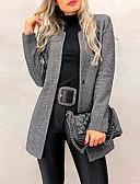 זול כבל & מטענים iPhone-בגדי ריקוד נשים יומי סתיו ארוך מעיל, אחיד עומד שרוול ארוך פוליאסטר פול / שחור / אפור