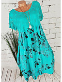שמלות נשים-מעל הברך פרחוני - שמלה טוניקה בגדי ריקוד נשים
