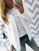 cheap Women's Sweaters-Women's Solid Colored Long Sleeve Cardigan Sweater Jumper, Round Neck Fall Black / White / Blushing Pink S / M / L