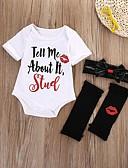 זול סטים של ביגוד לתינוקות-סט של בגדים שרוולים קצרים גיאומטרי / דפוס בנות תִינוֹק